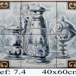 Bodegón en azulejos de cerámica blanco y negro