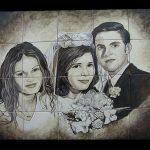 retrato cerámica familia